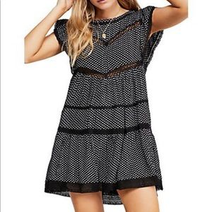 Free People Retro Kitty Black Dress NWTs Large